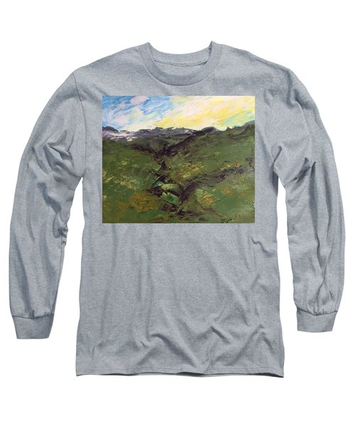 Long Sleeve T-Shirt featuring the painting Green Hills by Norma Duch