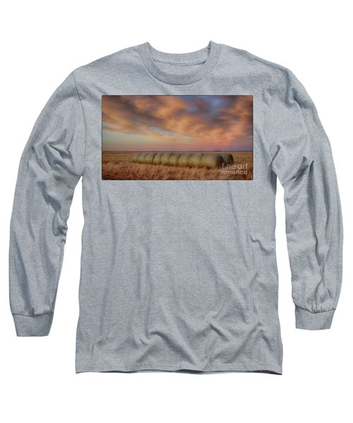 Hay Bales On The High Plains Long Sleeve T-Shirt