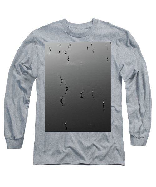 Herons On Lake 367 In Black And White Long Sleeve T-Shirt