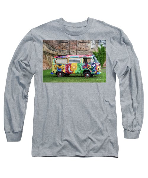 Hippie Dippie Vw Micro Bus Long Sleeve T-Shirt