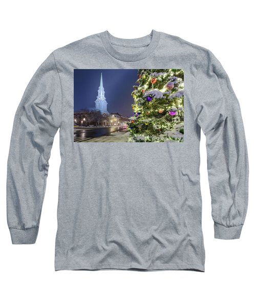 Holiday Snow, Market Square Long Sleeve T-Shirt