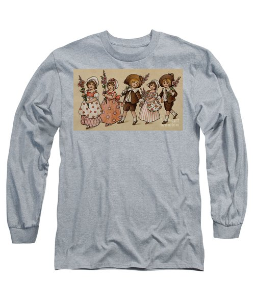 Hollyhocks, Victorian Card Long Sleeve T-Shirt