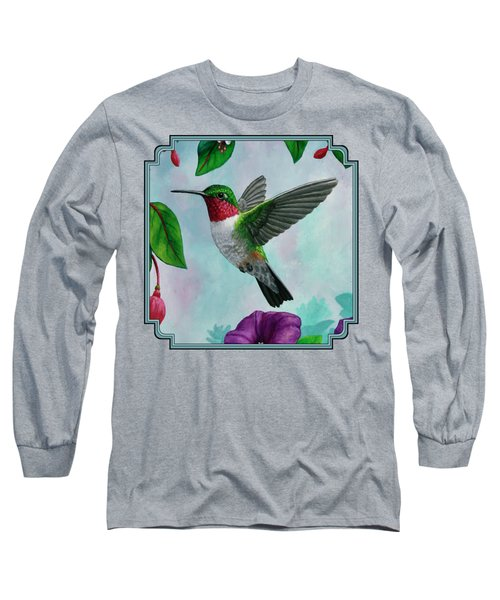 Hummingbird Flying In Spring Flower Garden 2 Long Sleeve T-Shirt