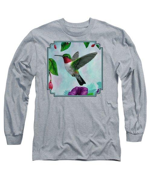 Hummingbird Flying In Spring Flower Garden 2 Long Sleeve T-Shirt
