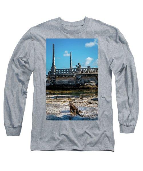 Iguana At Vizcaya Barge Long Sleeve T-Shirt