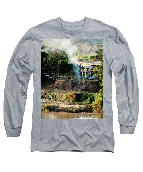 Laos Riverside Scene  Long Sleeve T-Shirt