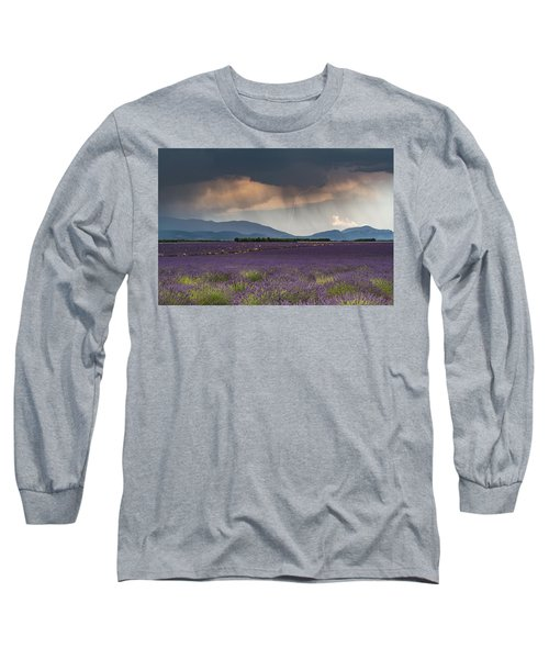 Lightning Over Lavender Field Long Sleeve T-Shirt