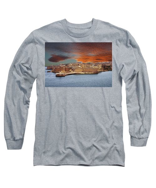 Looking Across Harbor From Fort St Elmo To  Fort Rikasoli Long Sleeve T-Shirt