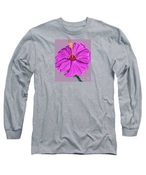 Lovely Pink Hibiscus Long Sleeve T-Shirt