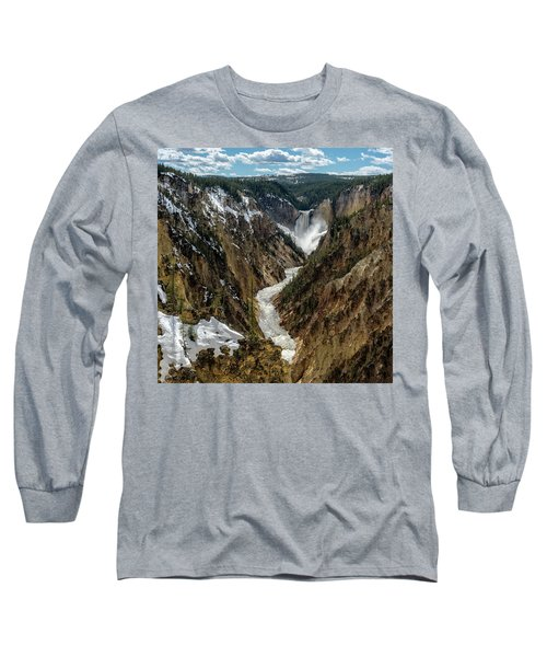 Long Sleeve T-Shirt featuring the photograph Lower Falls In Yellowstone by Scott Read