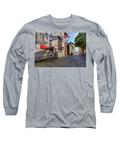Lux Cobblestone Road Brugge Belgium Long Sleeve T-Shirt