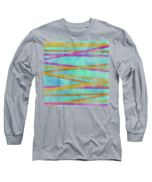 Malaysian Tropical Batik Strip Print Long Sleeve T-Shirt