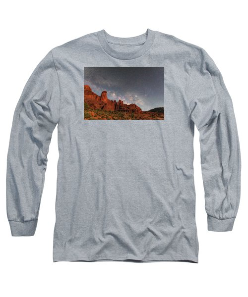 Milky Way Over Fisher Towers Long Sleeve T-Shirt
