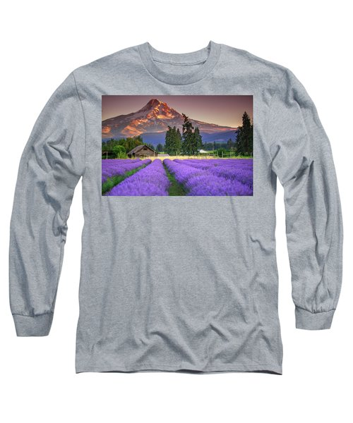 Mount Hood Lavender Field  Long Sleeve T-Shirt