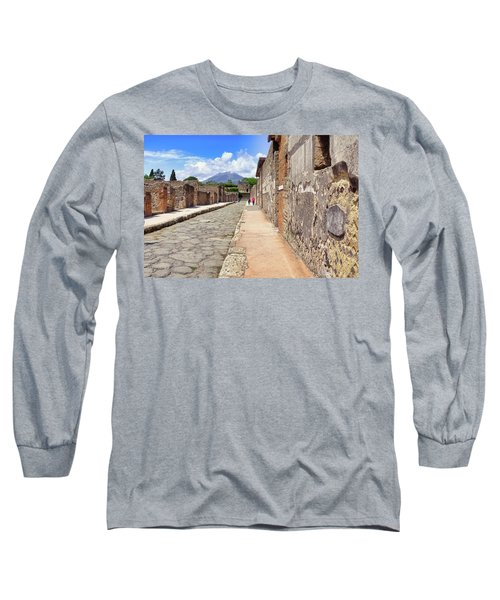 Mount Vesuvius And The Ruins Of Pompeii Italy Long Sleeve T-Shirt