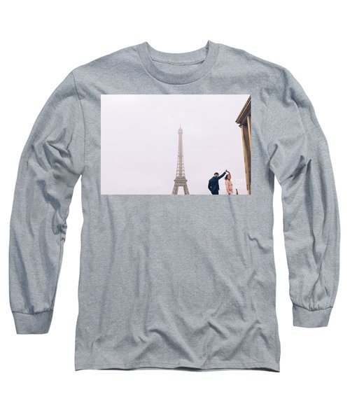 Newly-wed Couple On Their Honeymoon In Paris, Loving Having A Date Near The Eiffel Tower Long Sleeve T-Shirt