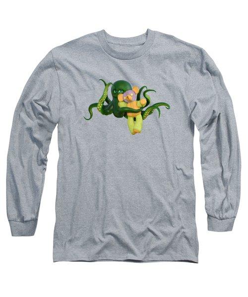 Octopus Green And Bear Long Sleeve T-Shirt