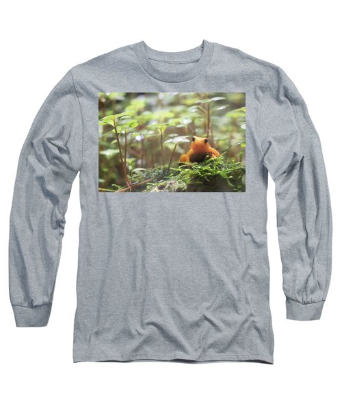 Long Sleeve T-Shirt featuring the photograph Orange Frog. by Anjo Ten Kate
