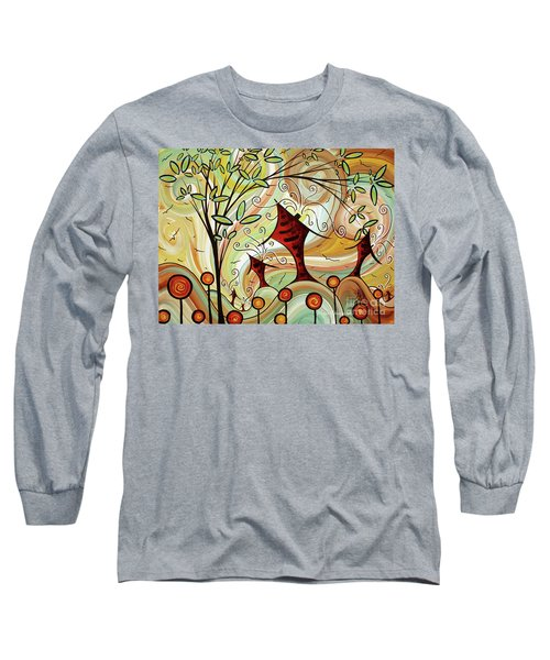 Original Whimsical Houses Landscape Paintings Fire Poppies By Megan Duncanson Long Sleeve T-Shirt