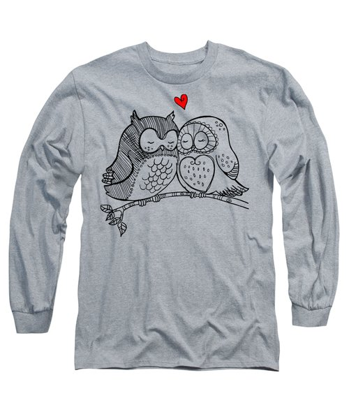 Long Sleeve T-Shirt featuring the digital art Owls In Love 121 by Ericamaxine Price