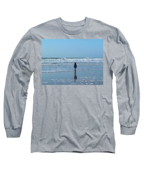 Paddling At Sandymouth Beach North Cornwall Long Sleeve T-Shirt
