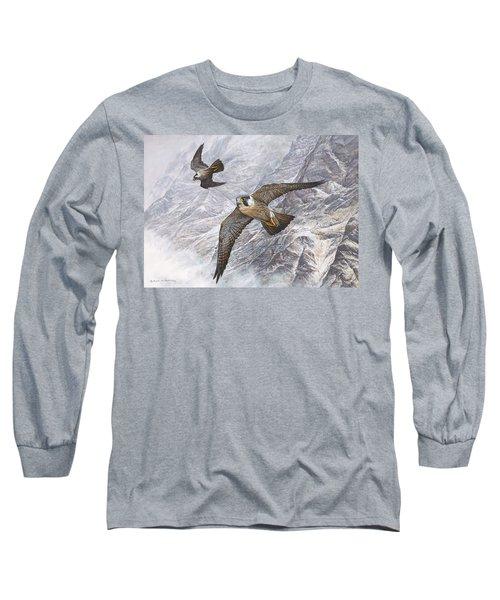 Pair Of Peregrine Falcons In Flight Long Sleeve T-Shirt