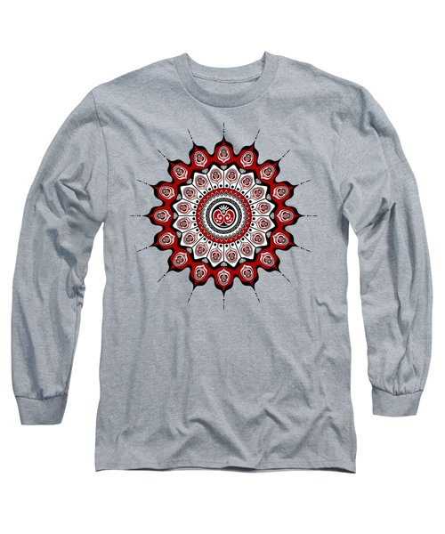 Peacock Feathers Mandala In Black And Red Long Sleeve T-Shirt
