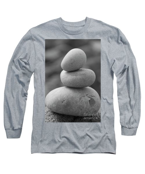 Pebbles In Black And White Long Sleeve T-Shirt