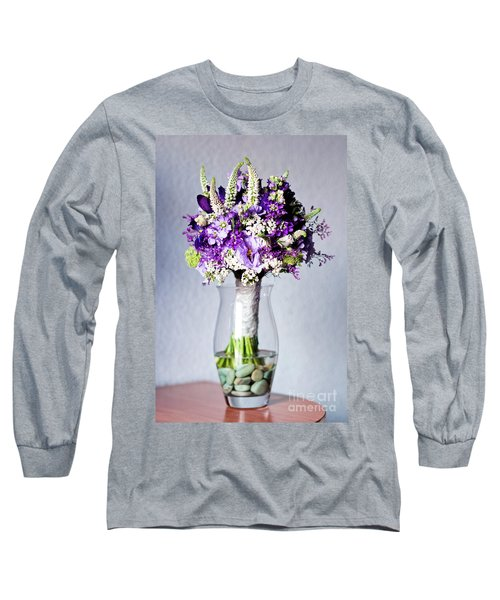 Perfect Bridal Bouquet For Colorful Wedding Day With Natural Flowers. Long Sleeve T-Shirt