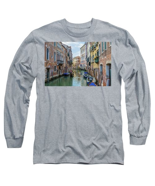 Gondolier On Canal Venice Italy Long Sleeve T-Shirt