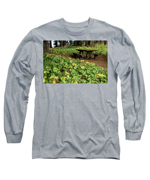 Picnic  Table In The Forest  Long Sleeve T-Shirt
