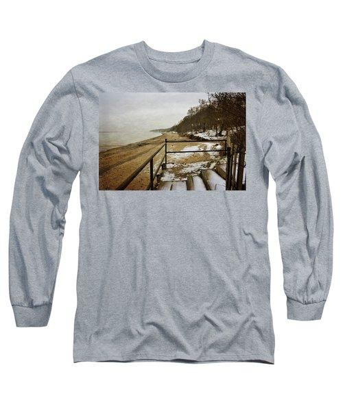 Pier Cove Beach With Steps Long Sleeve T-Shirt