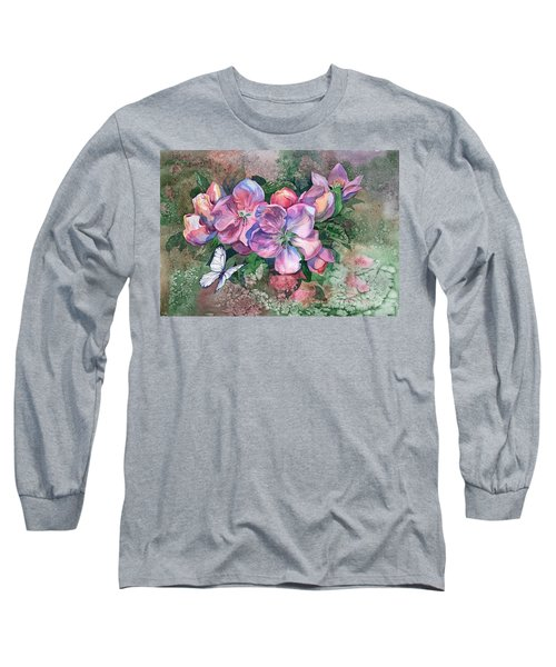 Pink Bloom Apple Tree And Butterfly Long Sleeve T-Shirt