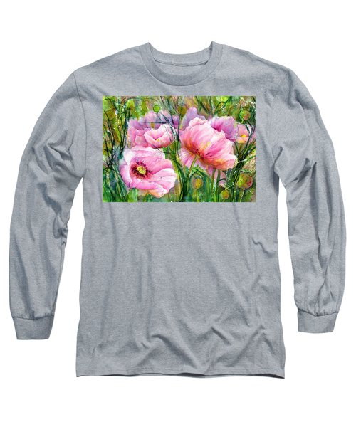 Pink Poppy Flowers Long Sleeve T-Shirt