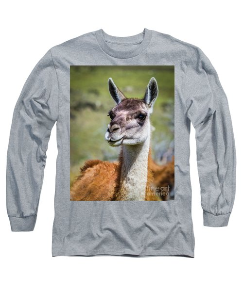 Portrait Of A Guanaco, Patagonia Long Sleeve T-Shirt