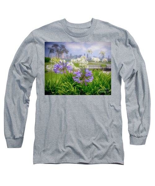 Purple Flowers In San Diego Long Sleeve T-Shirt