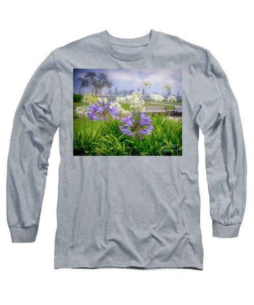 Purple Flowers In San Diego Long Sleeve T-Shirt
