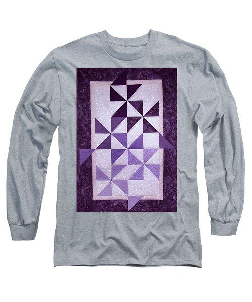 Purple Pinwheels Pirouetting Long Sleeve T-Shirt