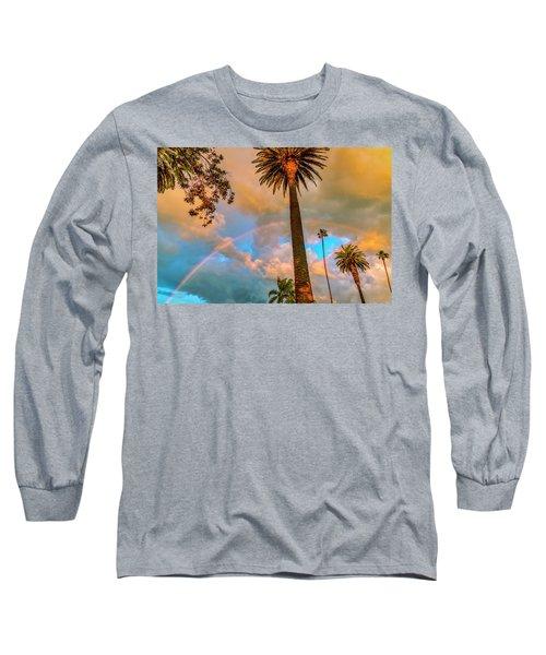 Rainbow Over The Palms Long Sleeve T-Shirt