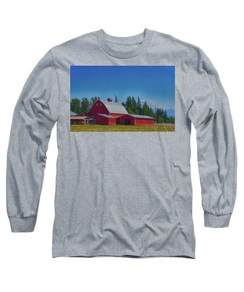 Red Barn With Mount Rainier Long Sleeve T-Shirt