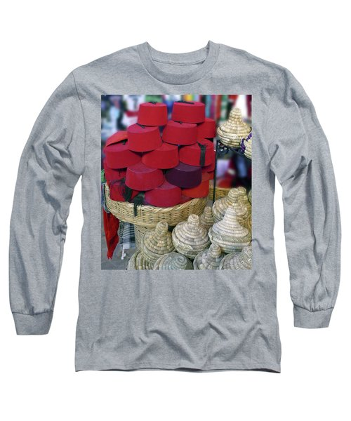 Red Fez Tarbouche And White Wicker Tagine Cookers Long Sleeve T-Shirt