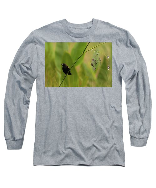 Red-winged Blackbird On Alligator Flag Long Sleeve T-Shirt