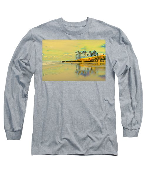 Reflection Of Coastal Palm Trees Long Sleeve T-Shirt