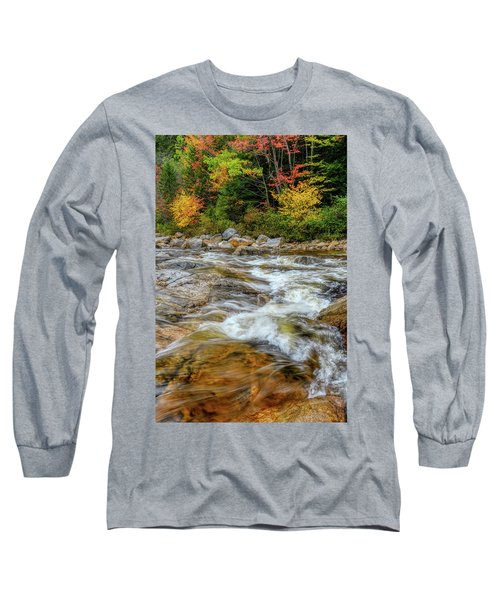 Long Sleeve T-Shirt featuring the photograph River Cross, Swift River Nh by Michael Hubley