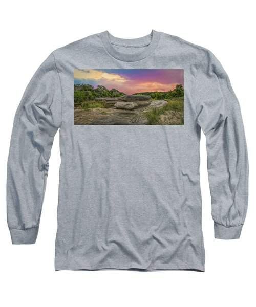 River Erosion At Sunset Long Sleeve T-Shirt
