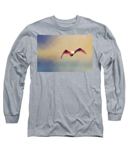 Roseate Spoonbill At Sunrise Long Sleeve T-Shirt