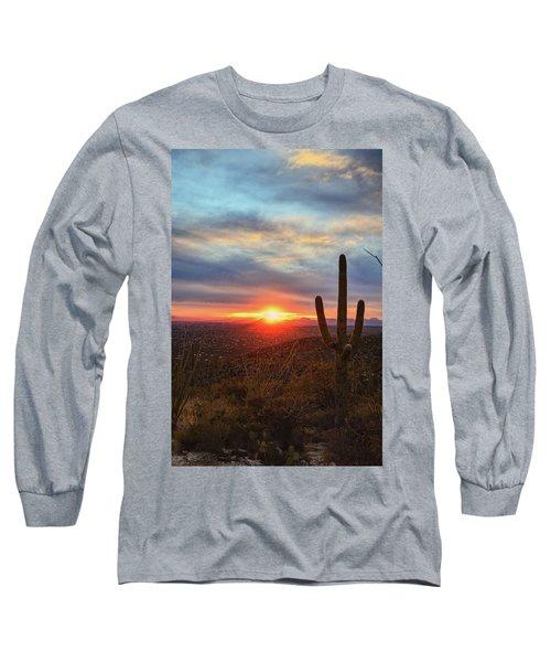 Saguaro Cactus And Tucson At Sunset Long Sleeve T-Shirt