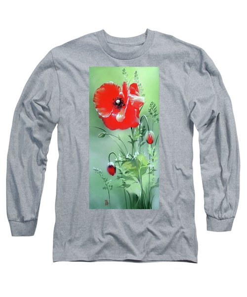 Scarlet Poppy Flower Long Sleeve T-Shirt