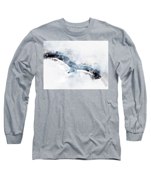Seagull In Flight With Watercolor Effects Long Sleeve T-Shirt