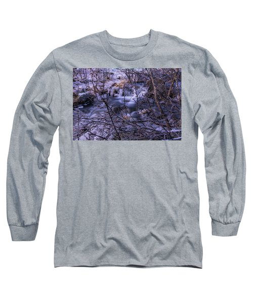 Snowy Forest With Long Exposure Long Sleeve T-Shirt